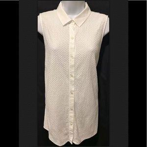 J McLAUGHLIN Blouse Sleeveless Textured Cotton